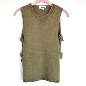 Knit Top with Adjustable Buckled Open Sides